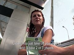 Whorish Euro babe with slim sexy body meets kinky guy at the train station. He offers her money for private strip tease show. She takes off her clothes outdoor as she agrees. Then he offers her another deal for the blowjob. She is cool with that also so she sucks juicy cock like a real pro.