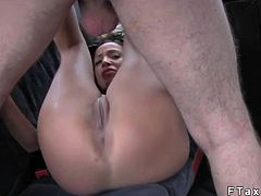 Huge tits tanned brunette babe gets shaved pussy licked by fake taxi driver on backseat of his cab then he fucks her pussy in every possible position