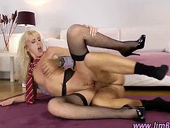 Euro slut swallows an old guys cum