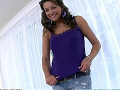 Lewd brown-haired chick Carmen McCarthy sucks a lollipop and then strips and shows her body to the guy. Then she takes his dick into her mouth and sucks it till it explodes with jizz.