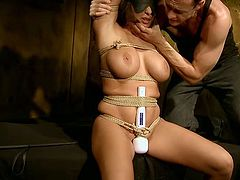 Damn, her gorgeous chest is worth salivating over! Buxom whore is bound hand and foot for punishment. She is horny as hell and more than ready for any sex tortures. Don't miss this hot BDSM scene!