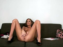 Skinny brunette babe Kylie Kane with shaved pussy and natural tits is at a casting when she gets fucked missionary by the film producer.