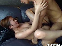 Gorgeous japanese babe Rika Hoshimi with hairy pussy and natural tits fucking doggystyle and cowgirl with horny asian cock for pleasure and cum.