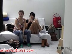 How does it look like when you have a lot of girls in one room and they need to get ready for shooting? You can find out in this video. Cum inside and watch this hot amateur girls changing clothes.