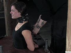 Horny girl gets tied up with straps. Then she gets her tongue and tits tortured with different bondage devices.