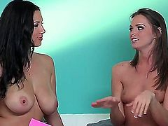 Do you want to check up some so cool lesbian interview with participation of Jelena Jensen and her girlfriend Both babes stay bare before starting to have dirty talk.