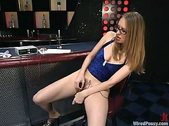 Nice girl lifts her dress off and fondles herself. After that she gets her pussy stimulated with electricity by another chick.