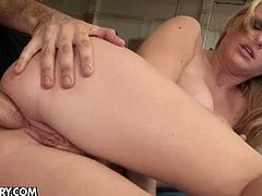 Natasha Brill doesn't waste any time and stars sucking off her trainer's cock. She takes it right inside her tight butthole for some hardcore action!