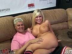 Busty blonde Lia Lor is getting naughty with some chubby dude. They fondle each other and then Lia shows her cock-sucking skills to the man and allows him to play with her pussy.