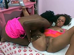 Amateur ebony girlfriends try lesbian pleasures in this sexy free video. See them munching their wet pink cunts before bringing out their dildos and putting them to work.
