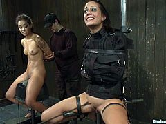 But it seems like he lied and there will be no mercy for neither her nor Skin Diamond. Both get trapped in the bondage device and tortured hard!