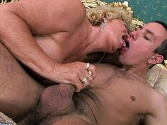 This old woman is an experienced slut when it comes to pleasing men. She sucks that juicy cock greedily like a dirty whore. Check out this old vs young scene and I'm kinda sure you will appreciate her cock sucking skills.