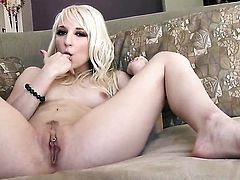 Ashley Jane with small tities and shaved pussy parts her legs to fuck herself with vibrator
