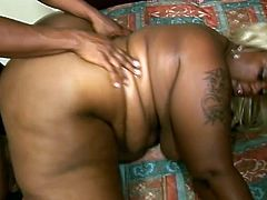 Black butt BBW Thunder Katt with huge tits and big fat pussy fucking doggystyle and missionary in a hotel room with a horny BBW lover.