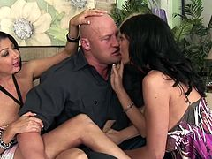 Blonde cougar Rachel and her two brunette hot friends Alia and Nadia just putted their paws on a construction guy. They can't help themselves not to act like whores when they see a big, muscled dude like this one. The bitches go completely wild, show their superb big boobs and suck cock like filthy sluts.