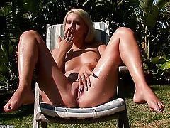Blonde woman Brandy Smile spends her sexual energy alone with the help of her fingers