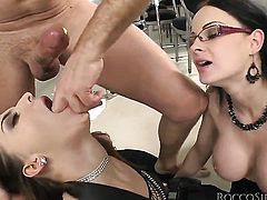 Rocco Siffredi gets his always hard pole used by anal-loving Abbie Cat before she gets her mouth fucked