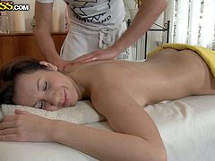 Gorgeous girl gets her pussy and boobs fondled by a tricky masseur. Then she gives him passionate blowjob and also gets fucked in her wet pussy.