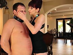 A few spanks on his chest and this guy begins to yell, like a whore. She wants to make him stand, like a man and humiliates him the best she can. Maitresse Madeline straps a bondage device on his cock and continues the punishment. She steps on his cock with her high heels and makes him crave, for her hairy cunt.