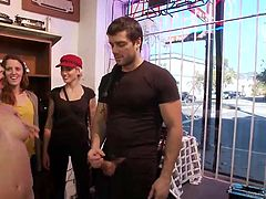 Cherie Deville is marched into a store to be publicly humiliated by a group of men and mistresses. One of the dommes wraps her strong arms around her neck and chokes her while a man takes an up close look at her wet cunt. A domme spanks her ass until it's red and she is made to suck dick in public.