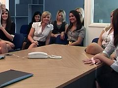 A group of horny CFNM in the office are ready for a humiliation. They make him to take off his clothes and want to play with his cock.