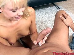 This wonderful blond babe opens her mouth and welcomes his huge cock deep in her mouth! This siren is such a sassy one!