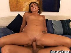 After taking a look at Ryan Hunter's great ass in this hardcore video, watch this sexy brunette sucking and taking a pounding from a large cock.
