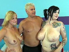 Man, you are gonna be sandwiched between two pairs of huge tits! Chubby chicks give him a double blowjob and then he pleases them back.