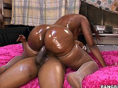 If you like big fat asses this is the video for you to take a look at, watch this ebony babe being nailed big cock after showing off her oiled up bottom.