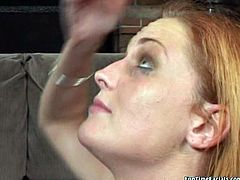 Salty red-haired student lies on her back giving an upside down blowjob to a massive dick remembering to help herself with hand under control of another spoiled chic in FFM sex video by Pornstar.