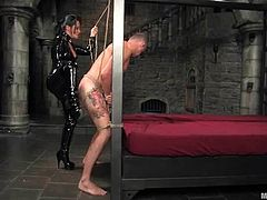 He didn't expect her to be so fucking cruel! She puts a gag in his mouth and ties him up so that he gets numb and obeys her rules.