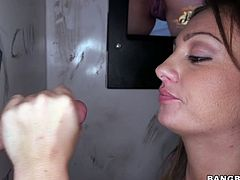This perverted and super sexy chick Abella Johnson is going to take the most out of that cock, sticking out of the glory hole. Too bad he doesn't see how sexy she is!