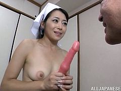 Horny and hairy japanese slut with hot ass and natural tits masturbating in front of an old man who jerks off. She loves her toys so much.