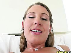 Brunette Lizzy London with juicy jugs and bald snatch is horny as fuck with Voodoos rod in her mouth