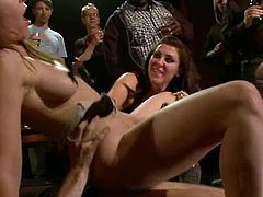 Two smoking hot babes are rocking out the firday night in their favorite bar. They get naked and bondaged in the yoke, getting some thick dicks in their holes.