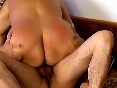 Wild granny rides that hard cock like a girl, she is fucked wild and hard and she makes that horny dude insane before facial finish.
