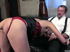 Juicy babe gets tortured by this regular client