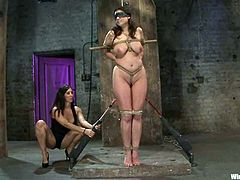 There's some really wild bondage and torture with sex toys in this BDSM lesbian video that includes anal toying and strapon sex.