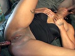 Hot ebony with  round boobs and big booty puts the show to the rocks, Today she's going to be double penetrated by black cocks in this MMF threesome.Enjoy this hot booty ebony babe getting fucked in her all holes.