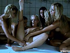 Bridgett, Clara G, Eve Angel, Sandy, Sophie Moone and Zafira are playing lesbian games in a shower. They stroke each other's beautiful wet bodies and then lie down on the floor and please oen another with fingering.