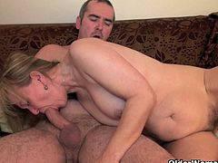 Hairy pussy granny stuffed hard with young. Her big old tits bounce non-stop as she gets fervent while getting banged.