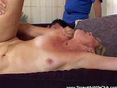 Granny fucked by another man while her husband watches from afar. He feels patethic for the situation but she enjoys the attention.