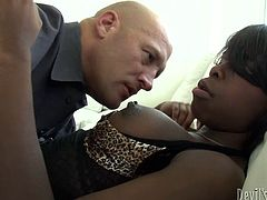Appetizing black ladyboy with big boobs and nice ass gives eager blowjob to on white dude. She sucks his meaty white shlong and demonstrates deepthroat skills.