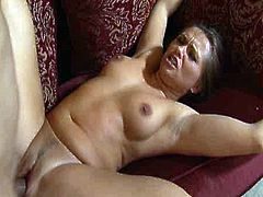 Zesty dark haired sexpot displays her gorgeous booty and her perky titties all naked. Later she gives sloppy blowjob to her fucker and gets her butthole fucked missionary style.