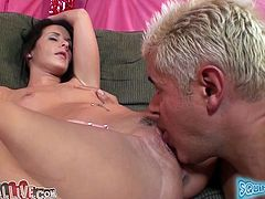 Cute dark-haired chick Mia Valentine spreads her legs wide apart and allows some man to play with her pussy. Then she sits down on the dude's prick and they have some naughty banging in cowgirl position.
