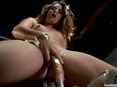Hot brown-haired chick Allie Haze is having fun alone. She takes a fucking device in her coochie and gets it smashed from behind.