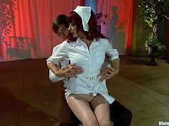 Hardcore BDSM session in a femdom! Slender Matiresse Madeline is going to humiliate Tony Orlando, sticking that needle in her cock!