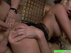 Check out this super hot Italian babe seducing two big dicked dudes. They show no mercy and stick their huge dicks into her pussy and asshole! This blond bombshell knows what shes doing and does it to perfection!