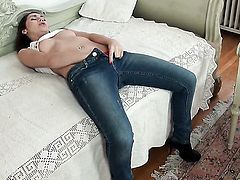 Stacy Snake with huge breasts has dildo-hungry muff