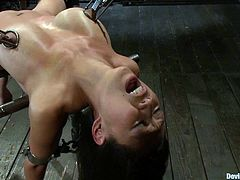 This amazing and smoking hot babe Tia Ling is being tortured pretty hard! She gets naked and then babe enjoys some fat pain in her twat!